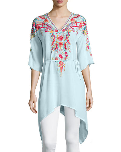 Johnny Was Collection Cleopatra Embroidered Asymmetric Tunic
