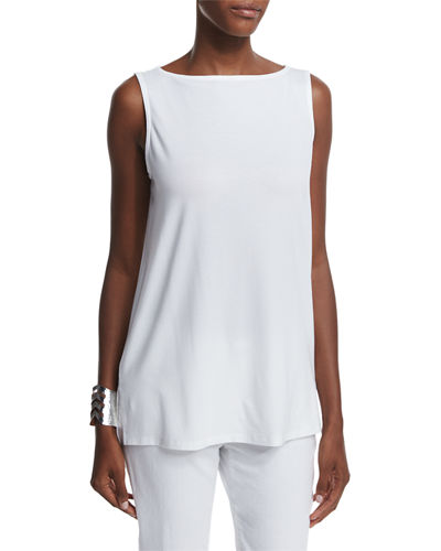 Eileen Fisher Sleeveless Long Step Shell, Petite