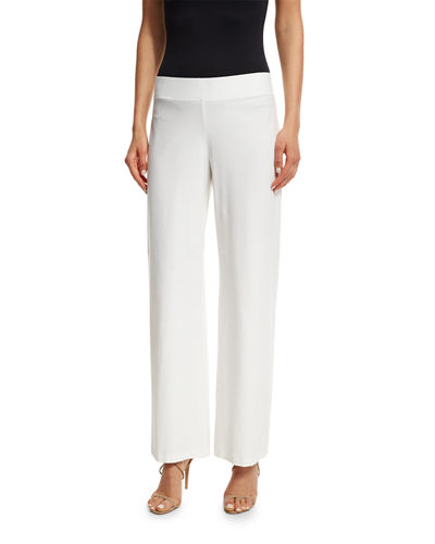 Wide-Leg Stretch-Crepe Pants, Plus Size