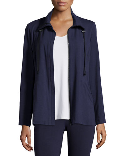 High-Collar Stretch Jersey Jacket, Plus Size