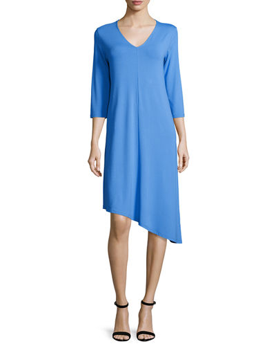 3/4-Sleeve Asymmetric Jersey Dress