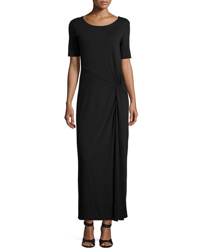 Joan Vass Short-Sleeve Ruched Jersey Maxi Dress