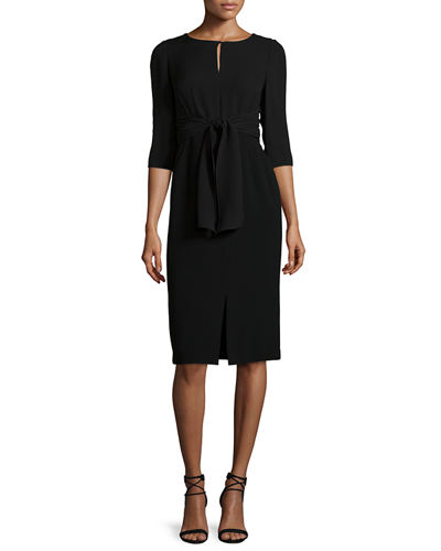 Lafayette 148 New York Jolie 3/4-Sleeve Tie-Waist Dress