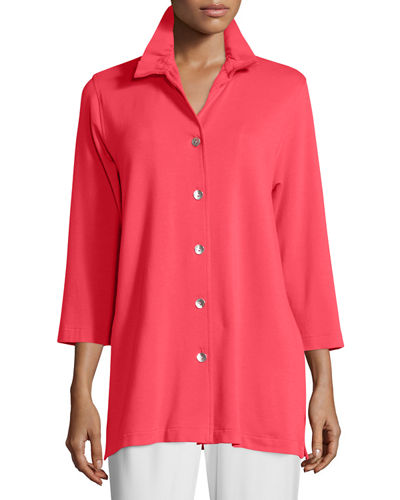 Caroline Rose Ruched-Collar 3/4-Sleeve Shirt