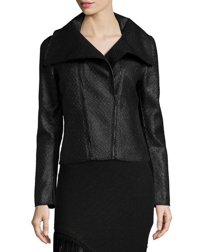 Elie Tahari Melanie Coated Tweed Moto Jacket