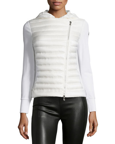 Hooded Biker Puffer and Knit Combo Jacket