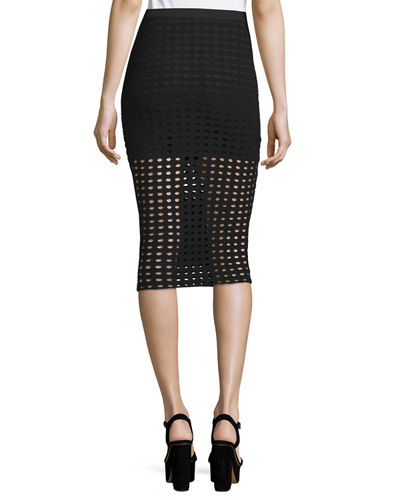 Eyelet Jacquard Pencil Skirt