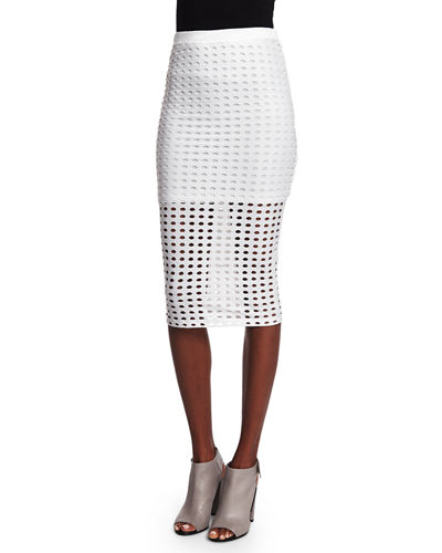 Eyelet Jacquard Pencil Skirt, White