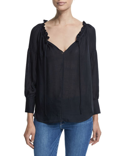 FRAME DENIM Le Ruffle Long-Sleeve Top