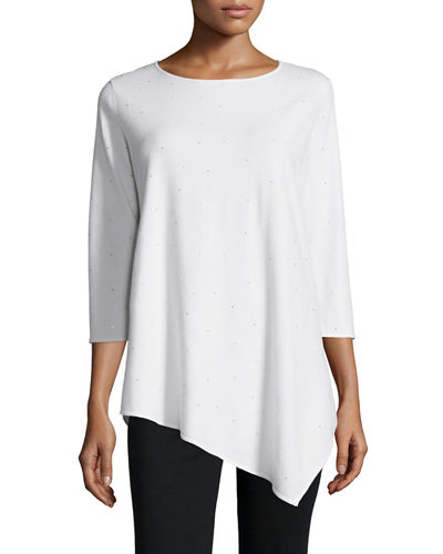 Beaded Asymmetric Tunic Sweater