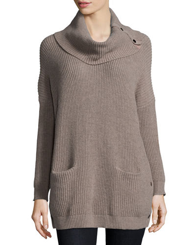Neiman Marcus Long-Sleeve Cowl-Neck Chunky Pullover