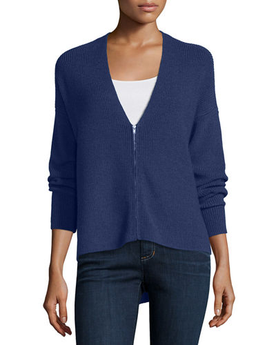 Eileen Fisher Zip-Front Merino Wool Cardigan, Plus Size