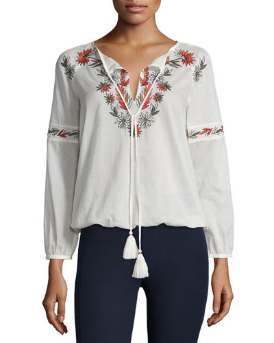 Tory Burch Split-Neck Embroidered Peasant Top
