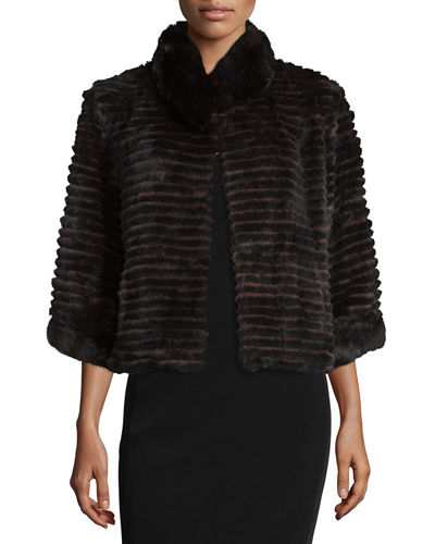 High-Collar Layered Fur Coat