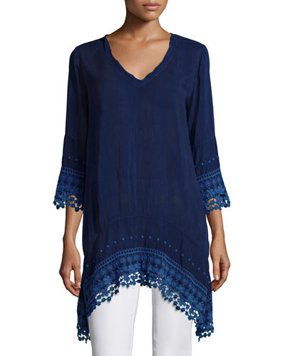 Johnny Was Collection 3/4-Sleeve High-Low Tunic