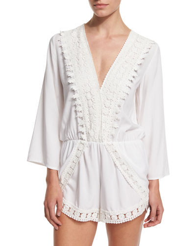 Crocheted-Trim Long-Sleeve Romper Coverup