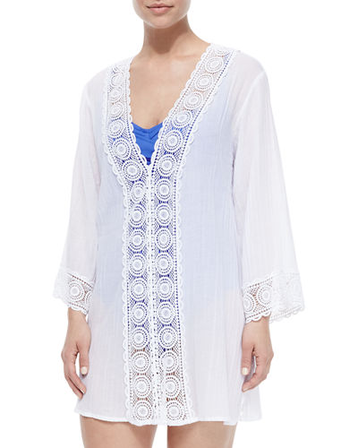 Embroidered-Inset Tunic Coverup, Women's