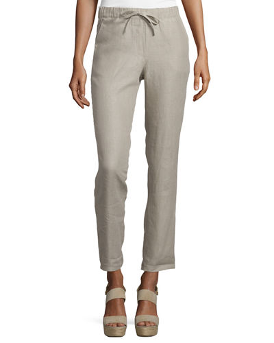 Majestic Paris for Neiman Marcus Linen Drawstring-Waist Pants
