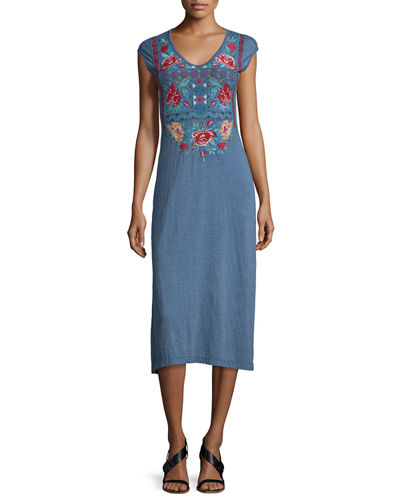 Johnny Was CollectionOphelle Cap-Sleeve Embroidered Maxi Dress