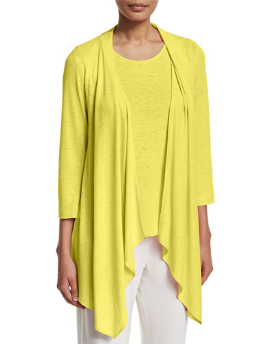 Gauze Knit Open-Front Cardigan, Plus Size