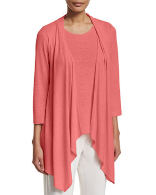 Gauze Knit Open-Front Cardigan