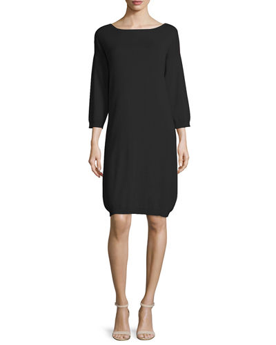 Joan Vass 3/4-Sleeve Cotton Dress, Plus Size