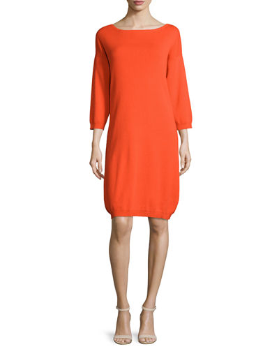 3/4-Sleeve Cotton Dress, Poppy Orange