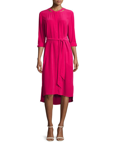 Long-Sleeve Belted Silk Shirtdress, Petite
