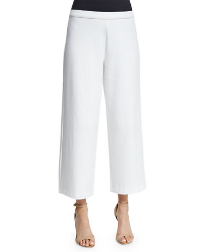 Easy Wide-Leg Ankle Pants, White, Petite