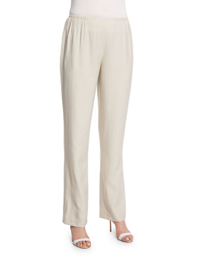 Cabo Straight-Leg Crinkled Pants, Plus Size