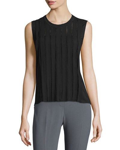 Elie Tahari Jemima Sleeveless Embellished Blouse
