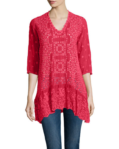 Taffy 3/4-Sleeve Georgette Tunic, Petite