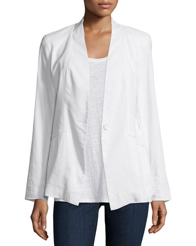 Angled Front Linen-Stretch Jacket, Plus Size