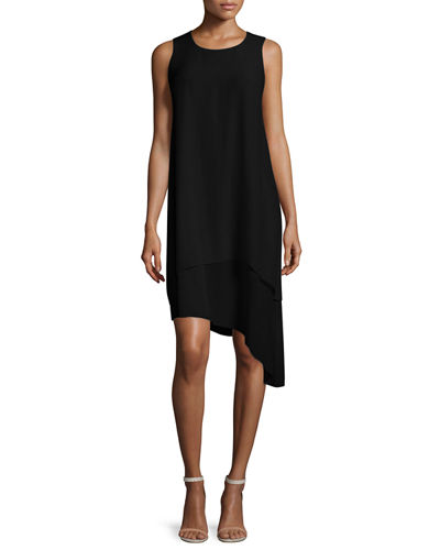 Double-Layer Silk Dress, Black, Petite