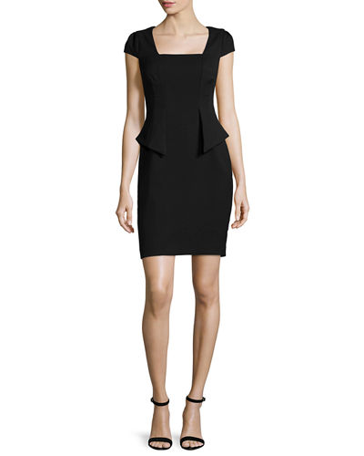 Cap-Sleeve Split-Peplum Sheath Dress