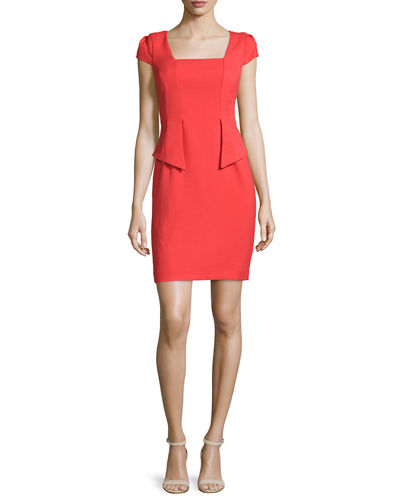 Carmen by Carmen Marc Valvo Cap-Sleeve Split-Peplum Sheath