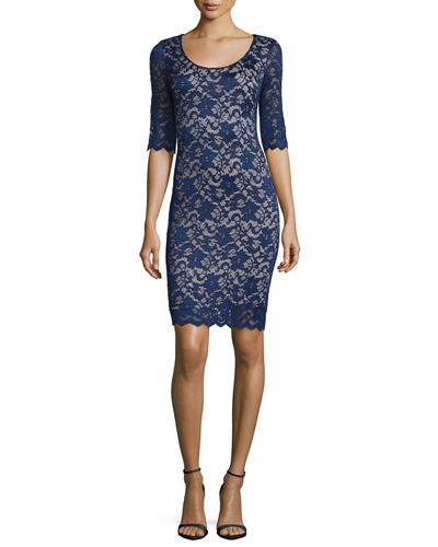 Half-Sleeve Lace Sheath Dress