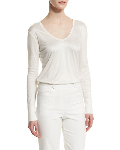 Halston Heritage Long-Sleeve Scoop-Neck Tee