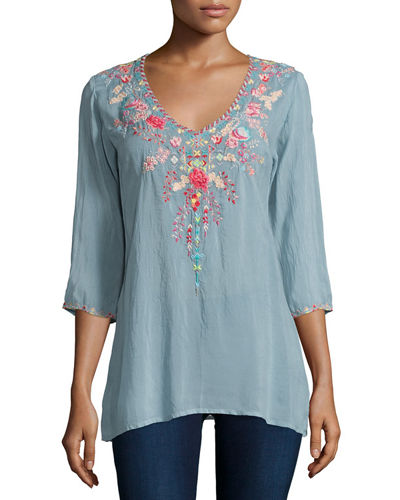 Johnny Was Collection Swan Embroidered 3/4-Sleeve Tunic
