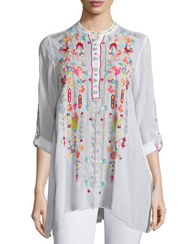 Johnny Was Collection Jezabelle Embroidered Tunic Top
