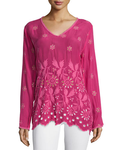 Johnny Was Collection Jen Long-Sleeve Embroidered Blouse, Plus