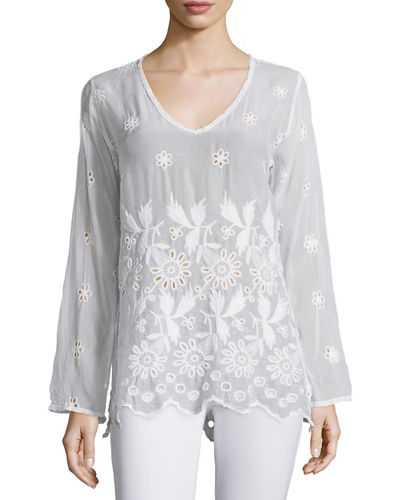 Johnny Was Collection Jen Long-Sleeve Embroidered Blouse