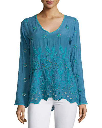 Jen Long-Sleeve Embroidered Blouse