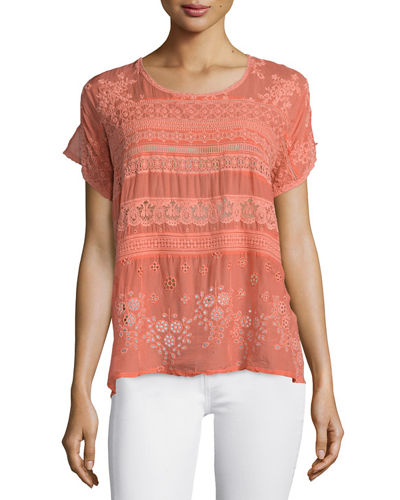 Johnny Was Collection Short-Sleeve Embroidered Georgette Tee
