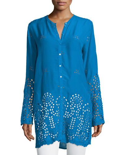 Johnny Was Collection Jennifer Button-Front Eyelet Blouse, Plus