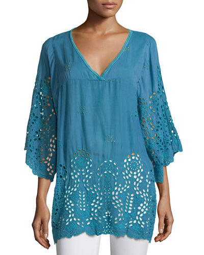Avy 3/4-Sleeve Eyelet Tunic, Plus Size