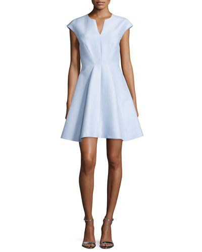 Cap-Sleeve Structured Party Dress