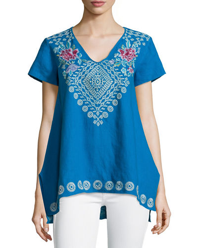 JWLA for Johnny Was Tara Short-Sleeve Embroidered Linen