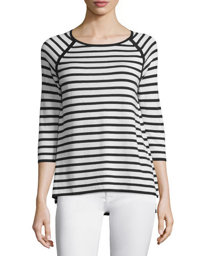 Neiman Marcus Cashmere Collection 3/4-Sleeve Striped Top