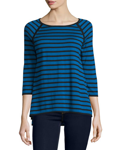 3/4-Sleeve Striped Top